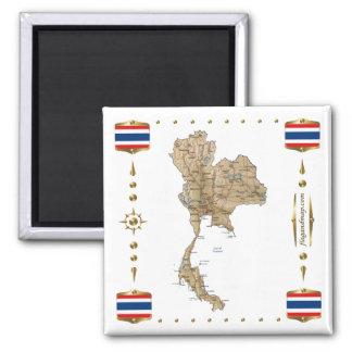 Mapa de Tailandia + Imán de las banderas