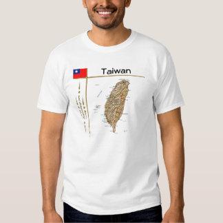 Mapa de Taiwán + Bandera + Camiseta del título Camisas