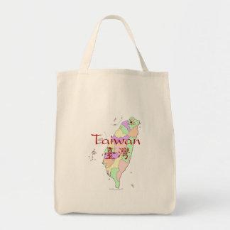 Mapa de Taiwán Bolsa Tela Para La Compra