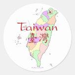 Mapa de Taiwán Pegatinas Redondas