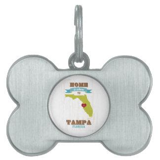 Mapa de Tampa, la Florida - casero es donde está e Placas De Nombre De Mascota