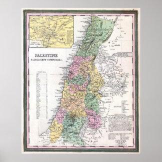 Mapa de Tanner de Palestina - 1750 Impresiones