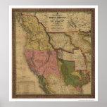 Mapa de Tejas, de Oregon y de California - 1846 Posters