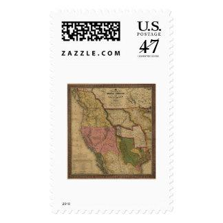 Mapa de Tejas, de Oregon y de California - 1846 Sellos Postales