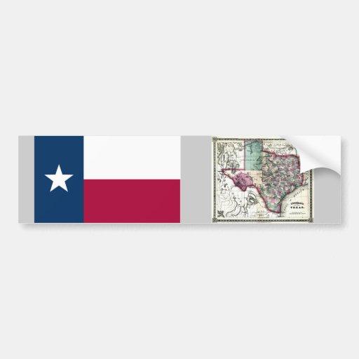 Mapa de Tejas y bandera del estado Pegatina Para Auto