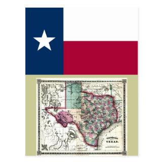 Mapa de Tejas y bandera del estado Postal