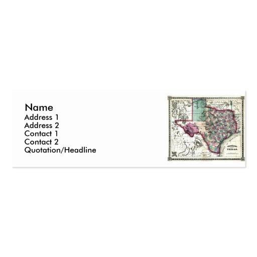 Mapa de Tejas y bandera del estado Tarjetas De Visita Mini