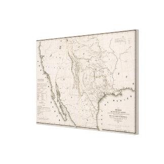 Mapa de Tejas y los países adyacentes Impresión En Lienzo Estirada