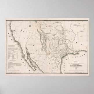 Mapa de Tejas y los países adyacentes Póster