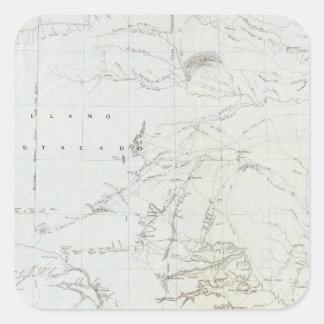 Mapa de Tejas y parte de New México Pegatina Cuadrada