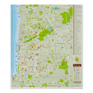 Mapa de Tel Aviv em Português, exclusivo. Poster