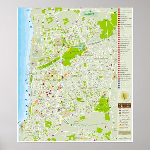 Mapa de Tel Aviv em Português, exclusivo. Posters