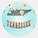 Mapa de Tennessee con los pájaros preciosos Pegatinas Redondas