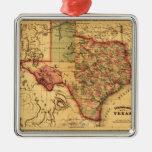 Mapa de TexasPanoramic Adorno Navideño Cuadrado De Metal