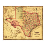 Mapa de TexasPanoramic Impresión En Lona