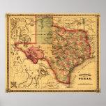 Mapa de TexasPanoramic Póster
