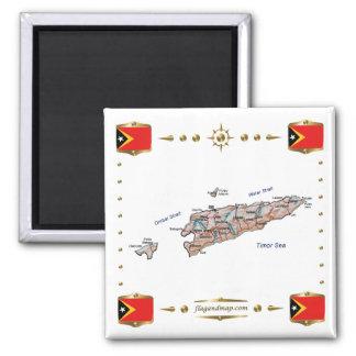 Mapa de Timor Oriental + Imán de las banderas