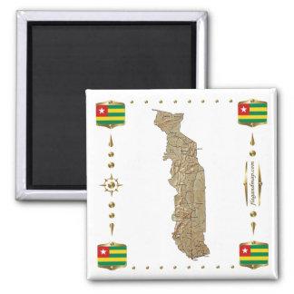 Mapa de Togo + Imán de las banderas