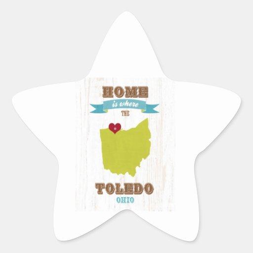Mapa de Toledo, Ohio - casero es donde está el cor Calcomanía Forma De Estrellae