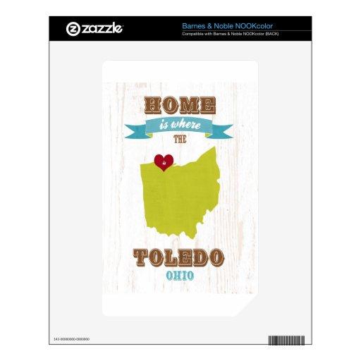 Mapa de Toledo, Ohio - casero es donde está el cor NOOK Color Calcomanías