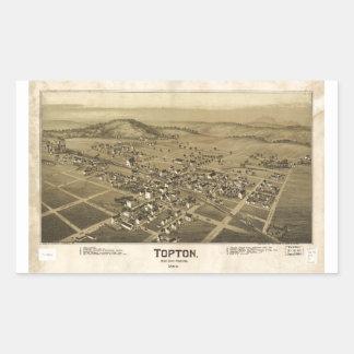 Mapa de Topton el condado de Berks Pennsylvania Pegatina Rectangular