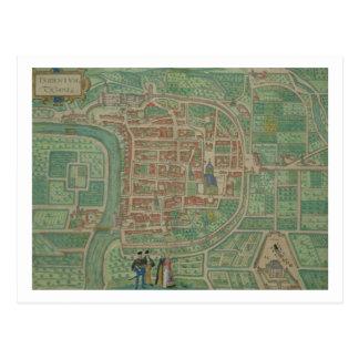 """Mapa de Trento, de """"Civitates Orbis Terrarum"""" Postales"""
