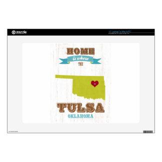 Mapa de Tulsa, Oklahoma - casero es donde está el  Calcomanía Para 38,1cm Portátil