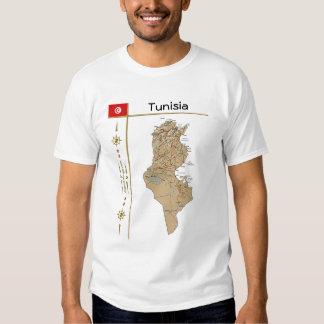 Mapa de Túnez + Bandera + Camiseta del título Remeras