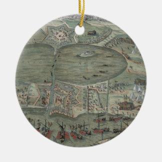 """Mapa de Túnez, de """"Civitates Orbis Terrarum"""" por G Adorno Redondo De Cerámica"""