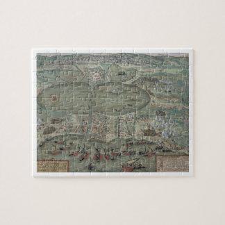 """Mapa de Túnez, de """"Civitates Orbis Terrarum"""" por G Puzzle Con Fotos"""