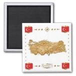 Mapa de Turquía + Imán de las banderas
