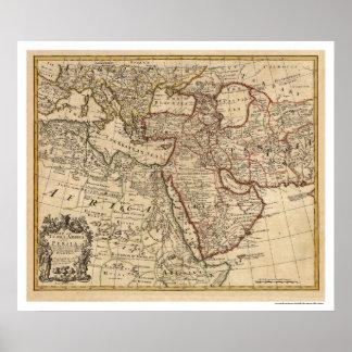 Mapa de Turquía Persia Arabia - 1721 Poster