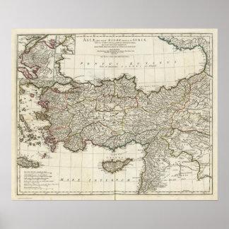 Mapa de Turquía Poster