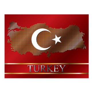 Mapa de Turquía y pixel turco del metal de la Tarjeta Postal