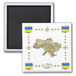 Mapa de Ucrania + Imán de las banderas