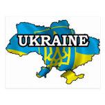Mapa de Ucrania Tarjeta Postal