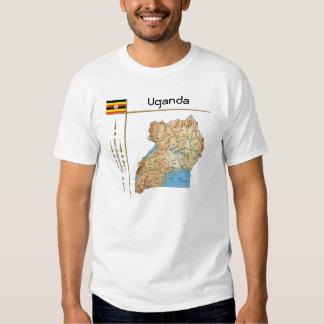 Mapa de Uganda + Bandera + Camiseta del título Polera