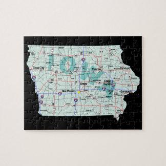 Mapa de un estado a otro de Iowa Rompecabeza