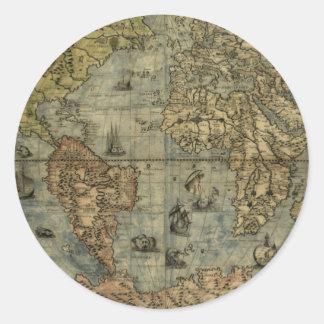 Mapa de Universale Descrittione Etiqueta Redonda