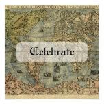 Mapa de Universale Descrittione Invitación 13,3 Cm X 13,3cm