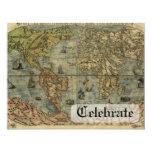 Mapa de Universale Descrittione Invitación 10,8 X 13,9 Cm