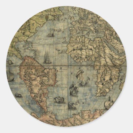 Mapa de Universale Descrittione Pegatina Redonda
