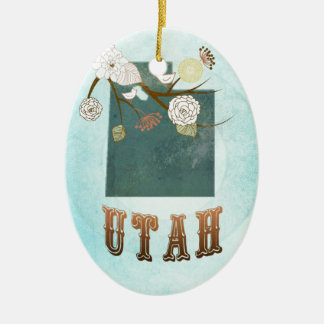 Mapa de Utah con los pájaros preciosos Ornamento De Navidad