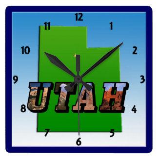 Mapa de Utah y reloj del texto de la imagen
