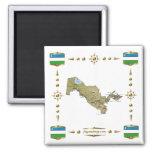 Mapa de Uzbekistán + Imán de las banderas