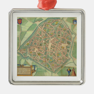 "Mapa de Valencia, de ""Civitates Orbis Terrarum"" b Adorno Cuadrado Plateado"