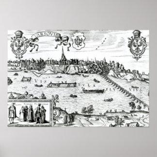 """Mapa de Varsovia, de """"Civitates Orbis Terrarum"""" ce Posters"""