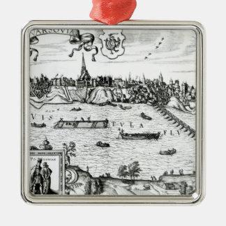 """Mapa de Varsovia, de """"Civitates Orbis Terrarum"""" Adorno Cuadrado Plateado"""