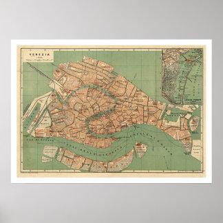 Mapa de Venecia, Italia hacia 1886 Poster