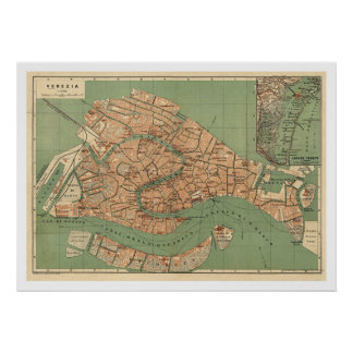 Mapa de Venecia, Italia hacia 1886 Póster
